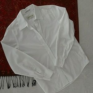 Orivis white on white long sleeve striped blouse